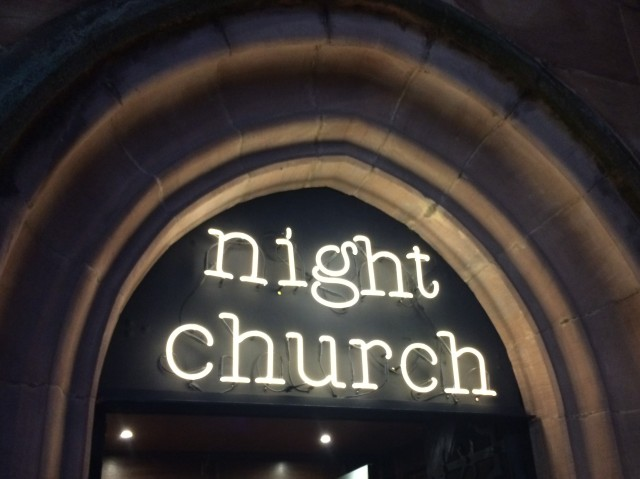 Night Church door sign